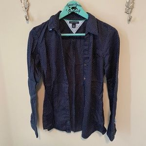 Navy polka dot button up blouse medium